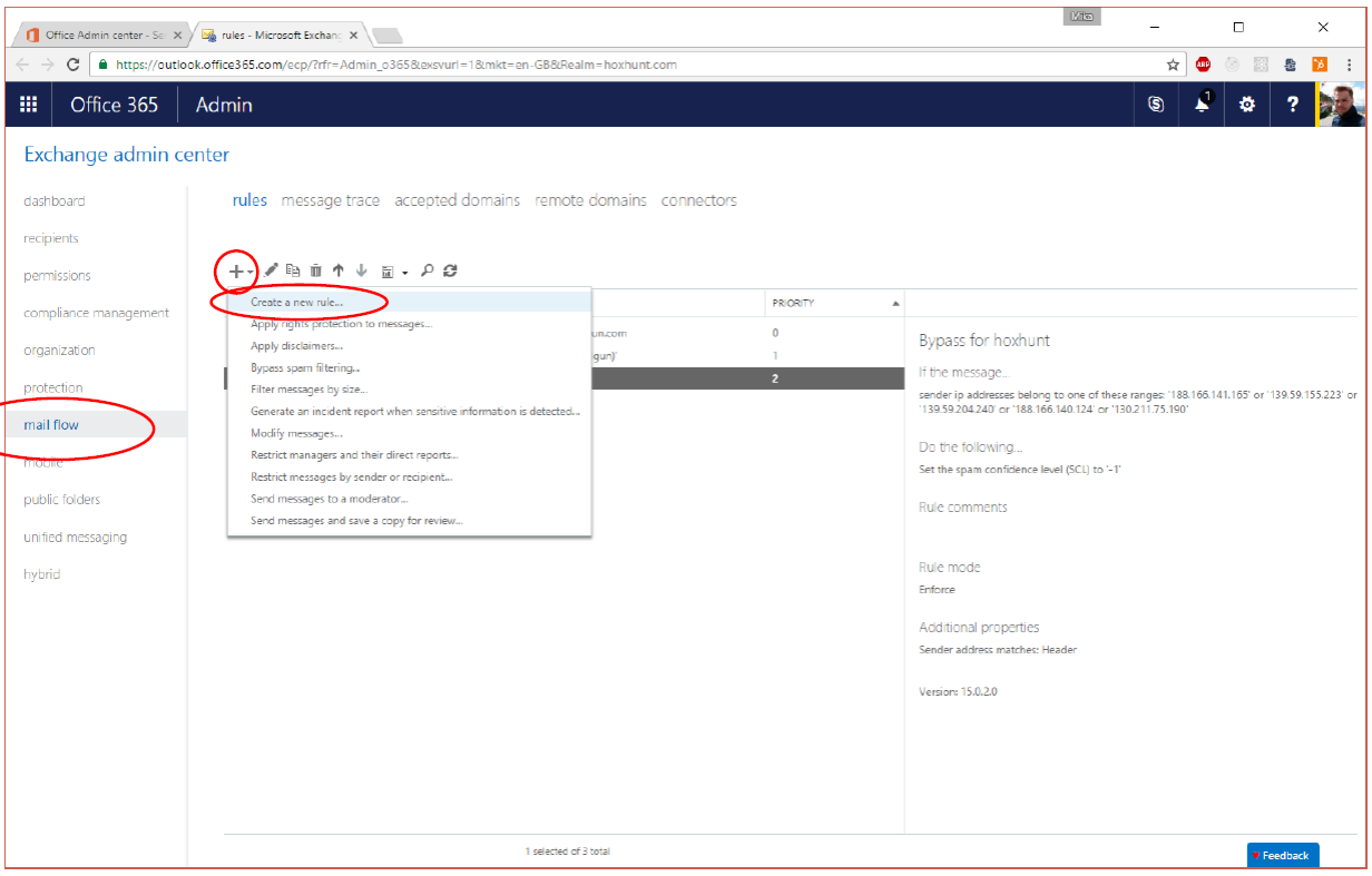 Deployment: Whitelisting in Office 365/Exchange Admin Center